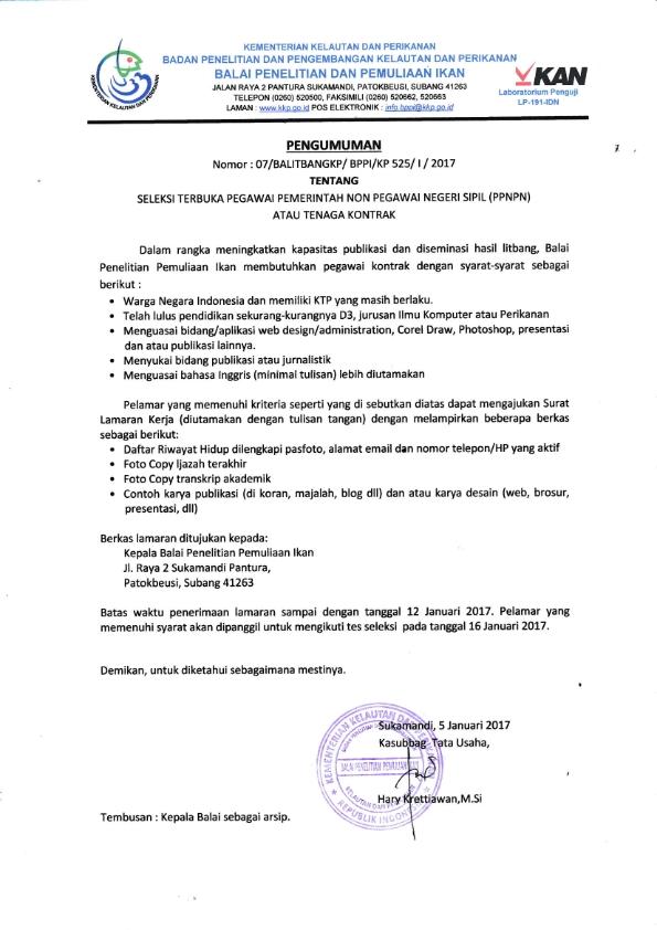 Seleksi Terbuka Pegawai Pemerintah Non Pegawai Negeri Sipil Ppnpn