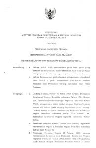 Surat Keputusan tentang Pelepasan Ikan Patin Perkasa