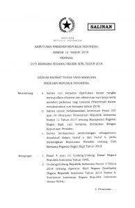 Keputusan Presiden Republik Indonesia Nomor 13 Tahun 2018 tentang Cuti Bersama Pegawai Negeri Sipil Tahun 2018